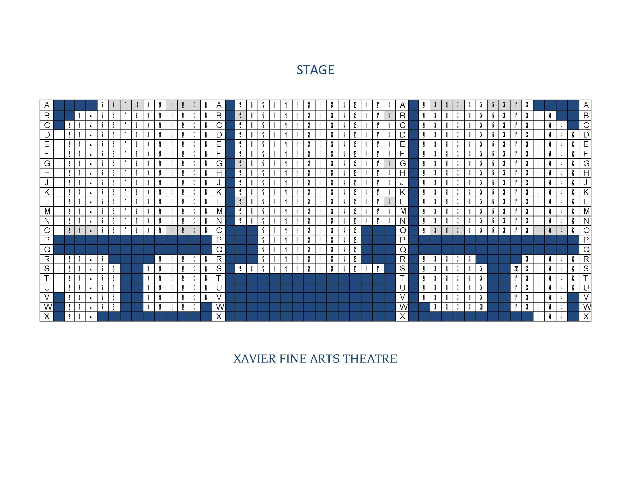 Xavier Fine Arts Theatre seating chart